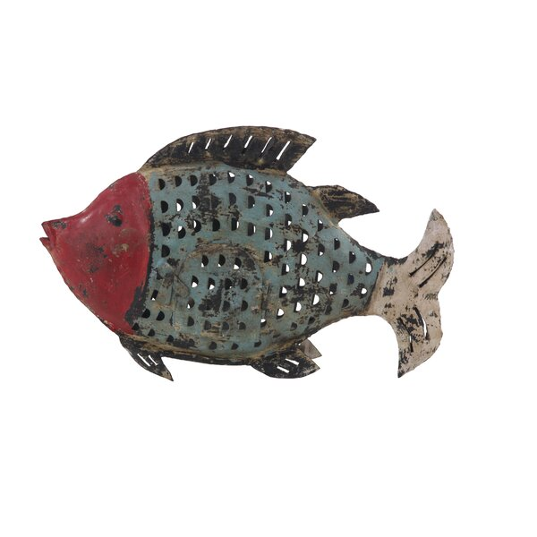 Palmerston Eclectic Distressed Fish Metal Figurine by Bay Isle Home