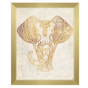 'Yellow Mehndi Elephant On Parchment' Framed Graphic Art by Click Wall Art