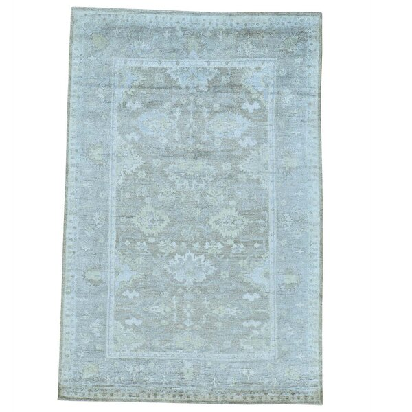 One-of-a-Kind Kating Natural Dyes Hand-Knotted Taupe/Sky Blue Area Rug by Canora Grey