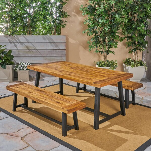 Vanetten Outdoor 3 Piece Dining Set by Union Rustic