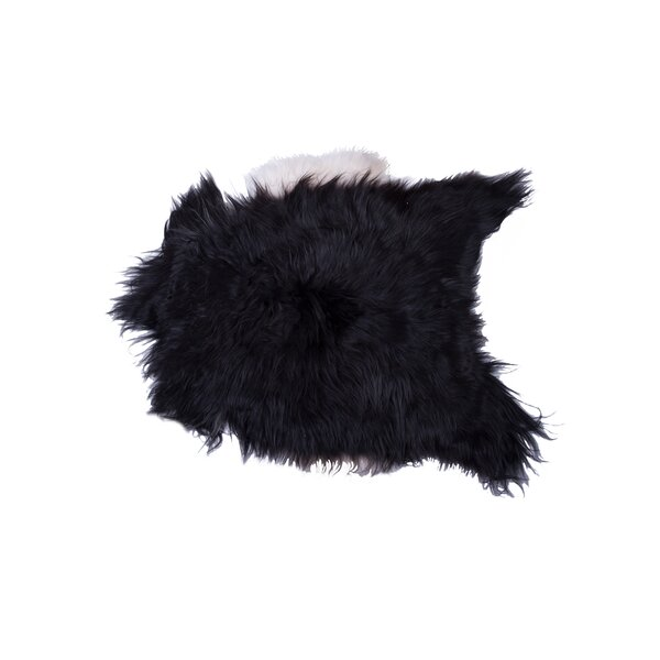 Barnaby Long-Haired Hand-Woven Sheepskin Black/White Area Rug by House of Hampton