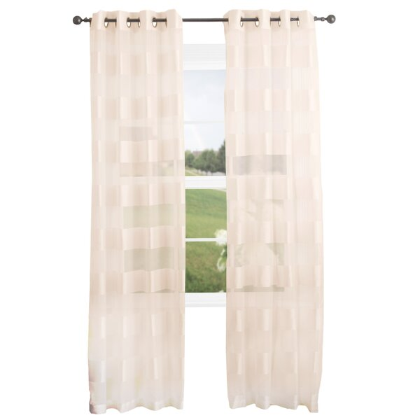Byrd Striped Semi-Sheer Grommet Single Curtain Panel by Andover Mills