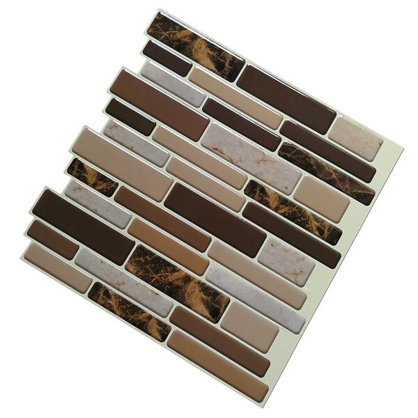12 x 12 Marble Peel & Stick Mosaic Tile in Brown by Art3d