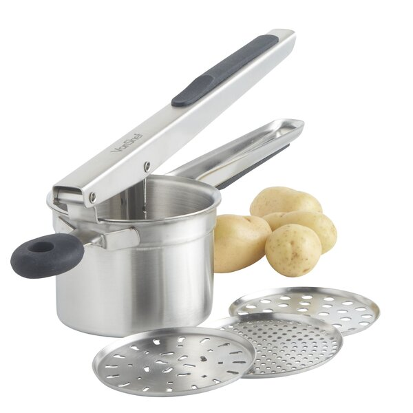 4 Piece Stainless Steel Mash Potato Ricer Masher/Fruit Press/Baby Food Strainer with 3 Interchangeable Discs and Soft Grip Handle by VonShef