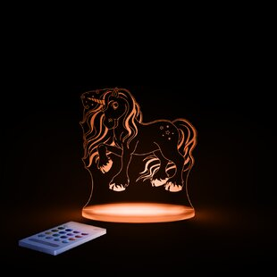Aloka Starlights LED Magic Unicorn Night Light with Remote Control By Lumenico Wall Lights