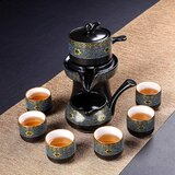 Fanquare Chinese Ceramic Kungfu Tea Set,Semi-Automatic Stone Mill Teapot With Strainer,Black Tea Service Set For Adult