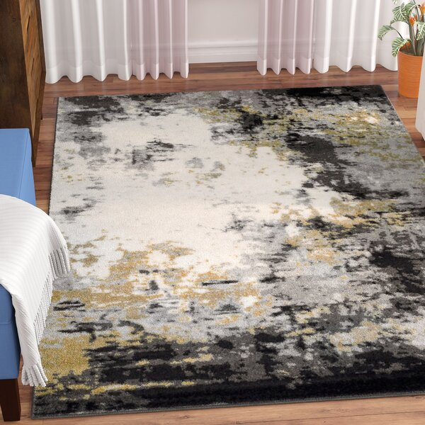 Shuff Charcoal/Mustard Yellow/Gray Area Rug by Wrought Studio