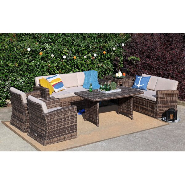 Stacy 6 Piece Rattan Sofa Seating Group with Cushions by Rosecliff Heights