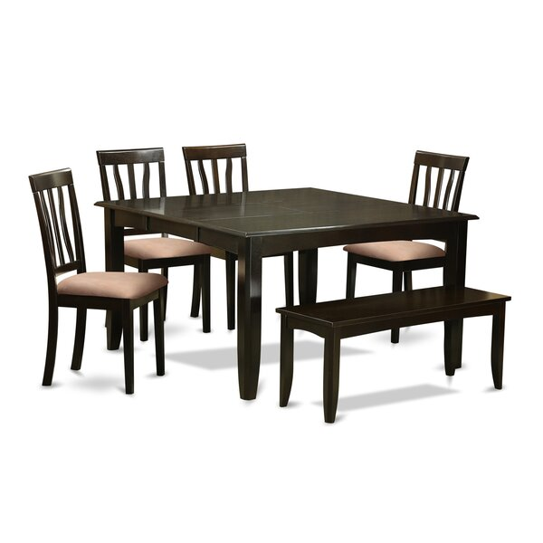 Pilning 6 Piece Extendable Solid Wood Breakfast Nook Dining Set by August Grove
