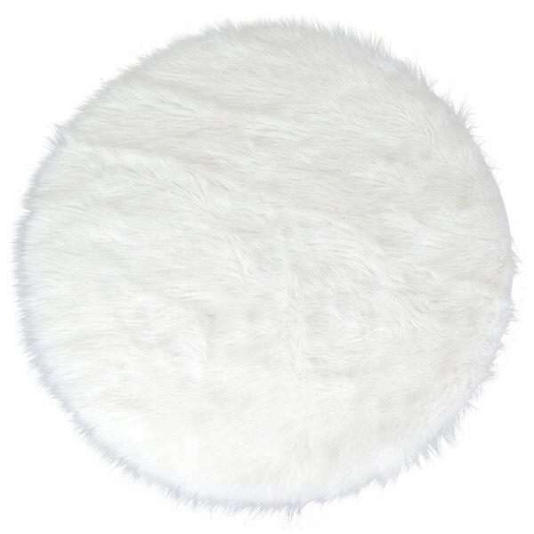 Aric Faux Sheepskin White Area Rug by House of Hampton