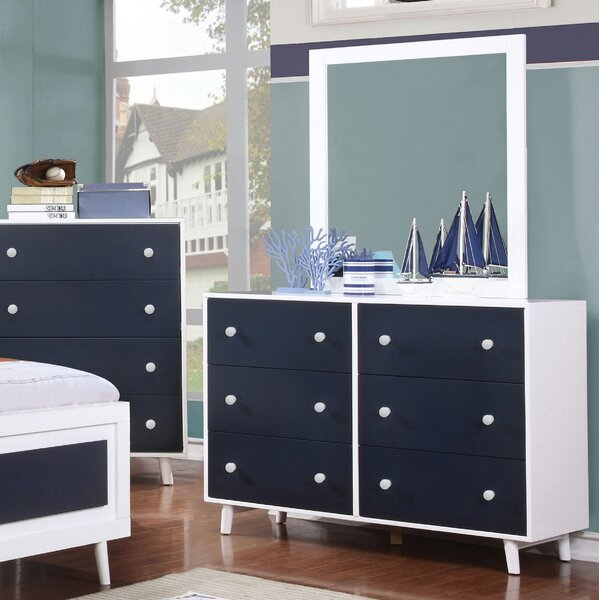 Frew 6 Drawer Double Dresser with Mirror by Red Barrel Studio