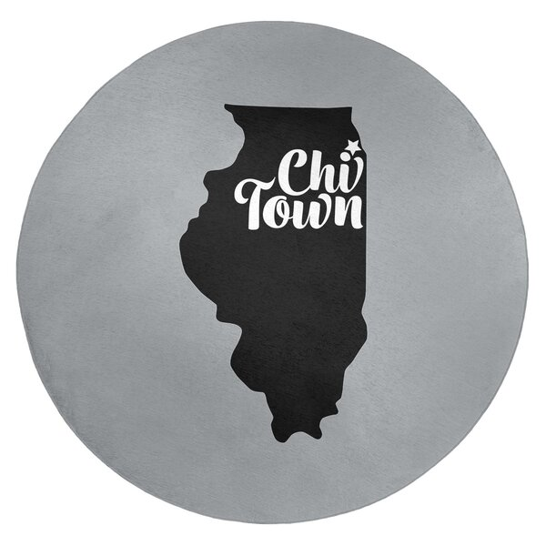 Chi Town Sports Colors Poly Chenille Gray Area Rug