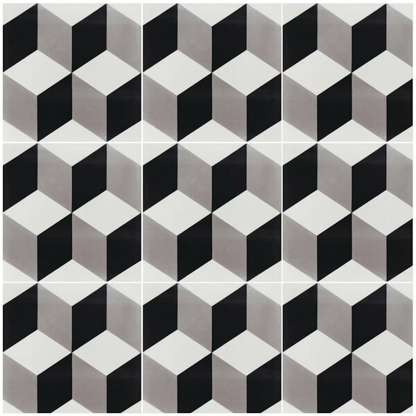 Cubes A Sencillo 8 x 8 Cement Field Tile in Black/Gray by Villa Lagoon Tile