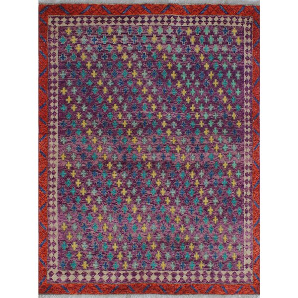 One-of-a-Kind Millender Chioke Hand-Knotted Wool Purple Are Rug by Bloomsbury Market