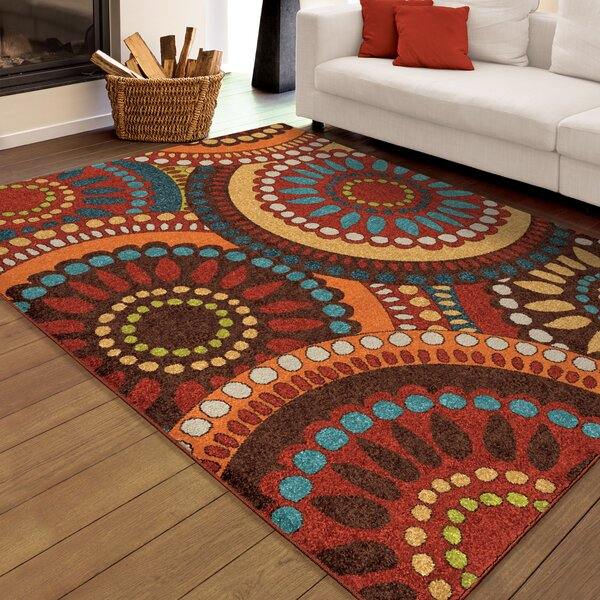 Fremont Red/Brown Area Rug by Threadbind