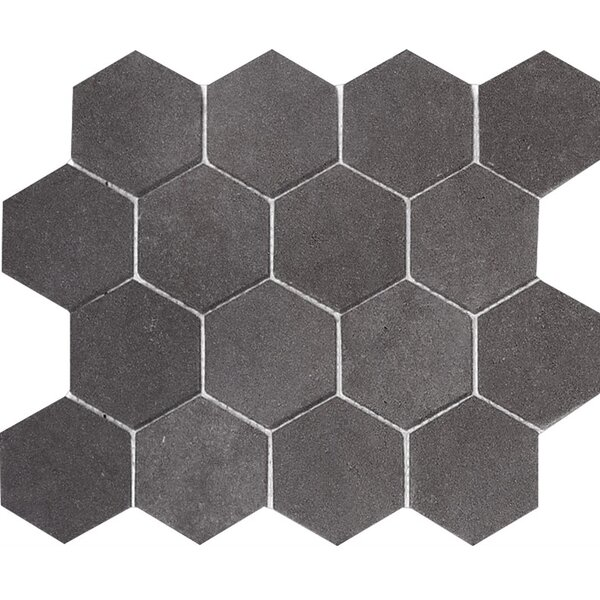 Lava Hexagon 3 x 3 Stone Mosaic Tile in Black Honed by Parvatile