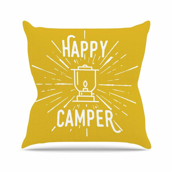 Jackie Rose Happy Camper Typography Outdoor Throw Pillow by East Urban Home