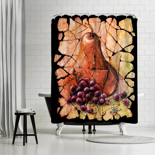 OLena Art Vintage Pear and Grapes Fresco Shower Curtain by East Urban Home