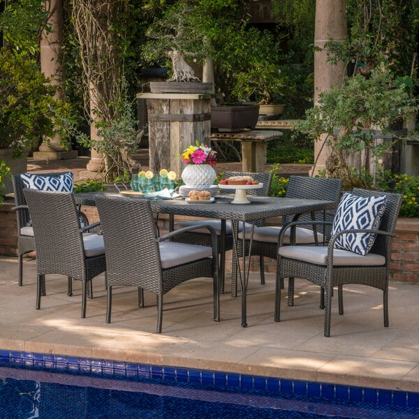 Maia Outdoor Wicker 7 Piece Dining Set with Cushions by Ivy Bronx