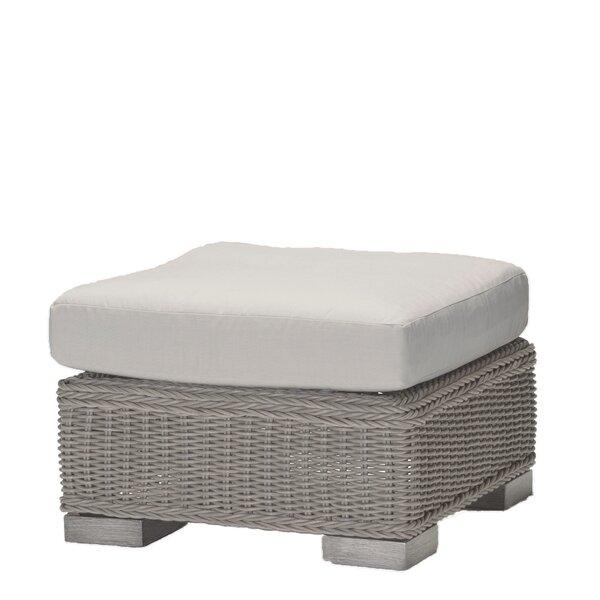 Rustic Wicker Ottoman with Cushion by Summer Classics