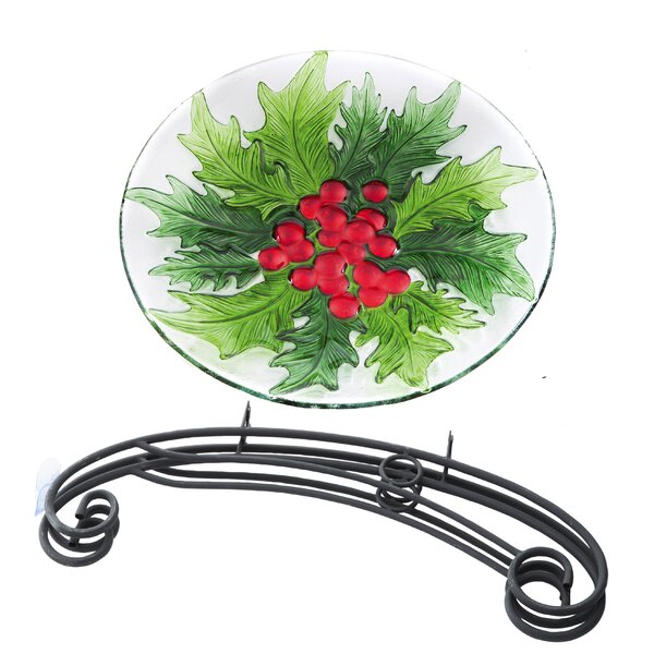 Holiday Holly and Berries Bird Bath by Evergreen Flag & Garden