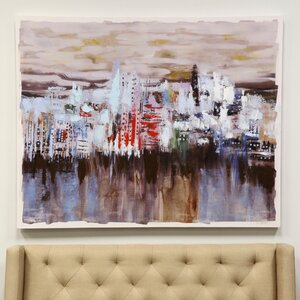 Watery View of a City Sky Line Painting Print on Canvas by Latitude Run