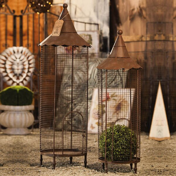 Copper Iron Nested 2 Piece Decorative Bird Cage Set by August Grove