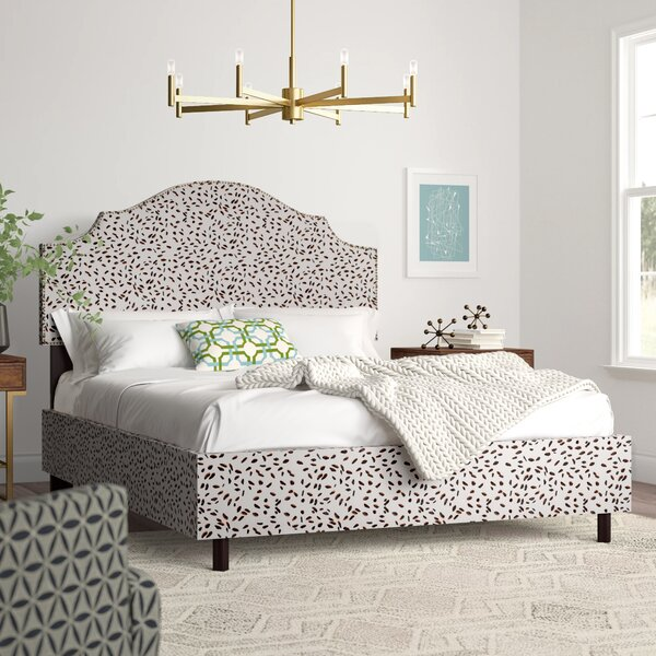 Marksbury Nail Button Notched Upholstered Standard Bed by Wrought Studio