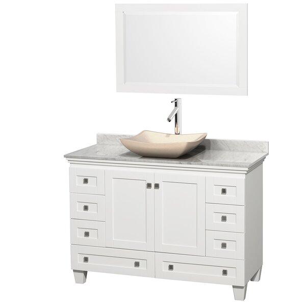 Acclaim 48 Single White Bathroom Vanity Set with Mirror by Wyndham Collection