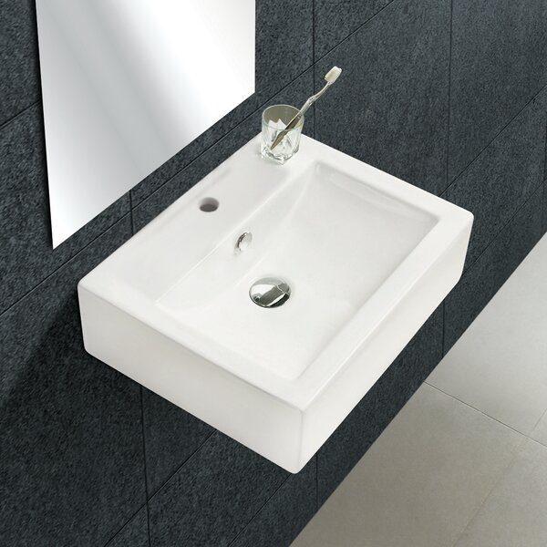 Ceramic 20 Wall-Mount Bathroom Sink with Overflow by Royal Purple Bath Kitchen