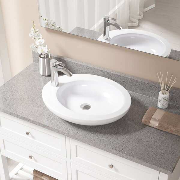Vitreous China Oval Vessel Bathroom Sink with Faucet by MR Direct