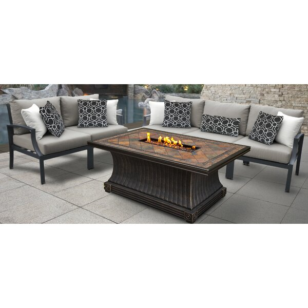 Brodeur Outdoor Aluminum 6 Piece Sectional Seating Group With Cushion By Canora Grey