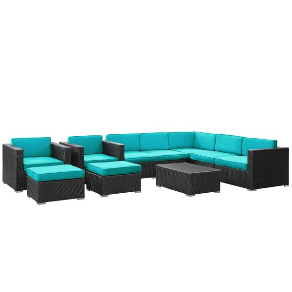 Buckhall 10 Piece Rattan Sectional Seating Group with Cushion by Wade Logan