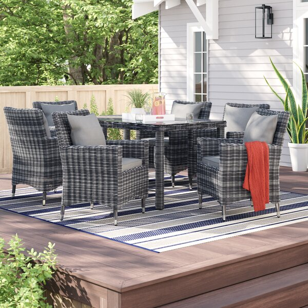 Alaia 7 Piece Rattan Sunbrella Dining Set With Cushions By Brayden Studio