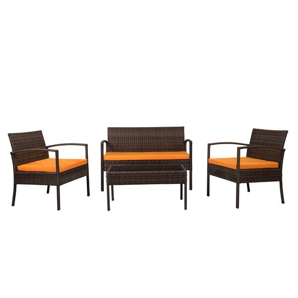 Roxana 4 Piece Rattan Sofa Seating Group with Cushions by Andover Mills