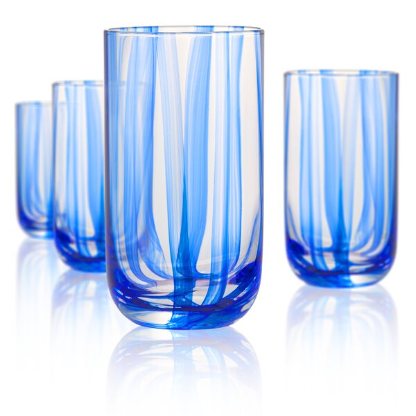 Colyn 18 oz. Glass Highball Glasses (Set of 4) by Highland Dunes