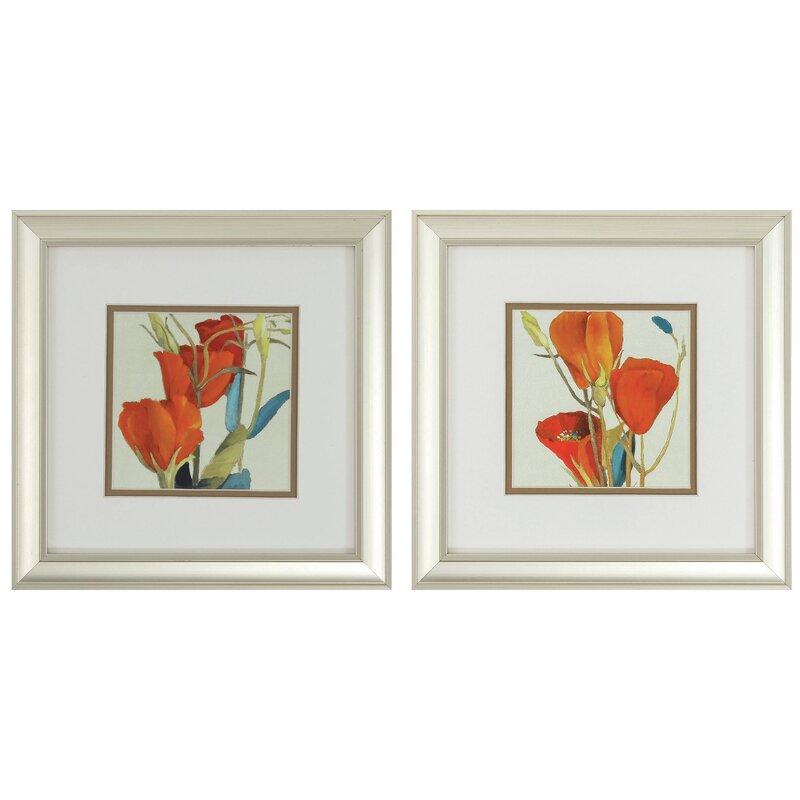 Grandiflorum I / II 2 Piece Framed Graphic Art Set