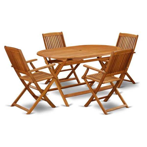 Mikel 5 Piece Patio Dining Set by Longshore Tides