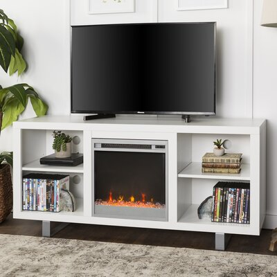 "Depasquale TV Stand for TVs up to 75"" with Electric Fireplace Included Latitude Run Color: White"