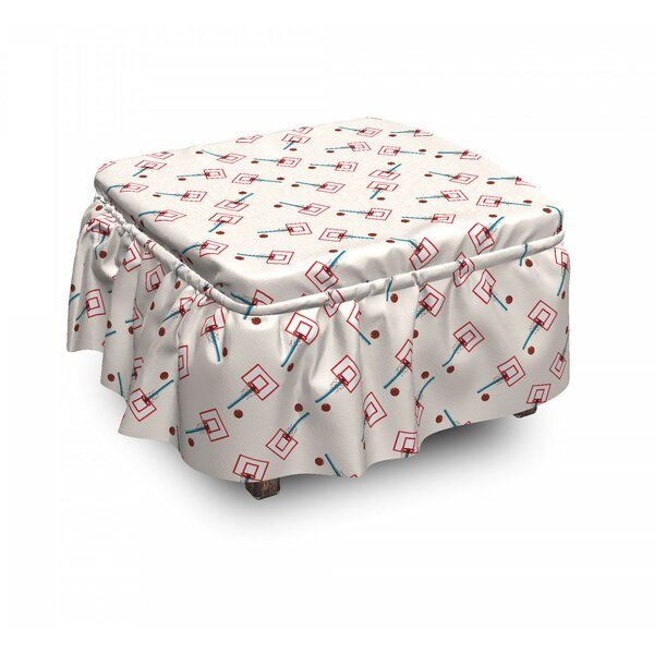 School Basketball Court Ottoman Slipcover (Set Of 2) By East Urban Home