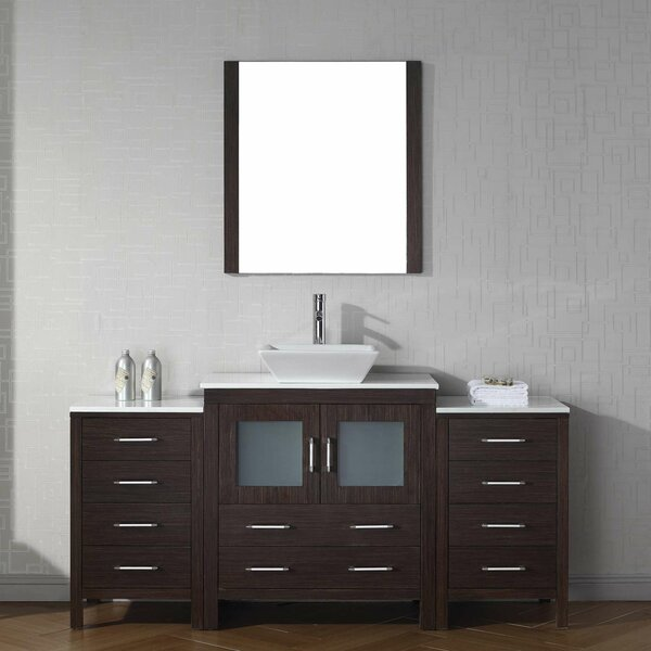 Cartagena 68 Single Bathroom Vanity Set with White Stone Top and Mirror by Mercury Row