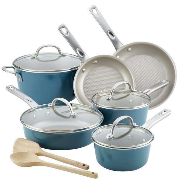 Porcelain Enamel Nonstick Non-Stick Cookware Set (Set of 12) by Ayesha Curry