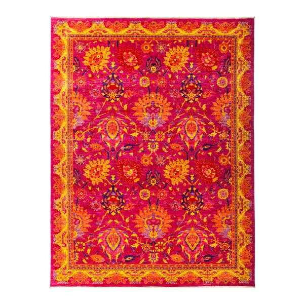 One-of-a-Kind Eclectic Vivid Hand-Knotted Pink Area Rug by Darya Rugs