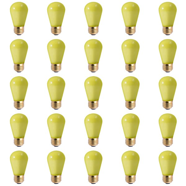 11W E26 Dimmable Incandescent Light Bulb Ceramic Yellow (Set of 25) by Bulbrite Industries