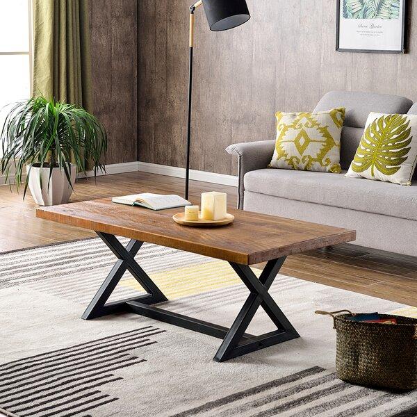 Hodnett Industrial X-Frame Trestle Coffee Table By Gracie Oaks