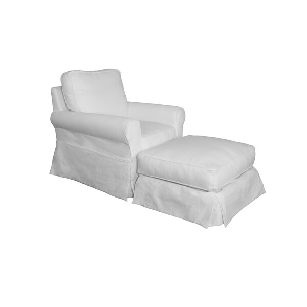 Box Cushion Armchair And Ottoman Slipcover By Beachcrest Home