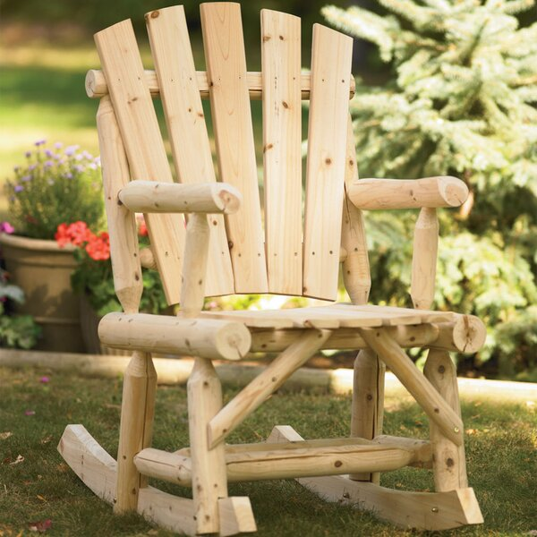 Chevonne Outdoor Log Adirondack Rocking Chair by Millwood Pines Millwood Pines
