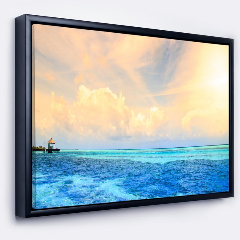east urban home maldives bungalows sunset panorama framed graphic