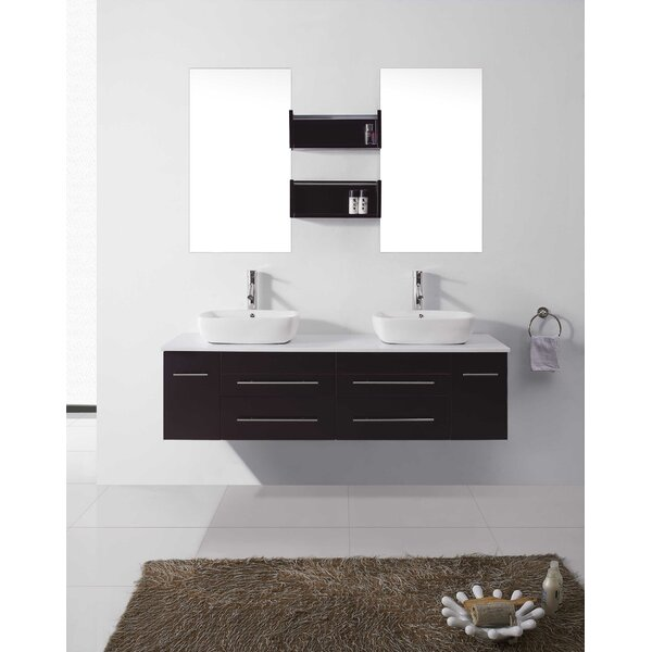 Malachy 60 Double Bathroom Vanity Set with White Stone Top and Mirror by Orren Ellis