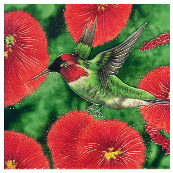 Hummingbird with 5 Flowers Tile Wall Decor by Continental Art Center